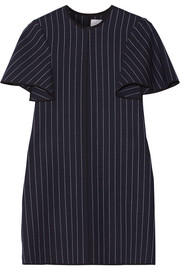 Victoria, Victoria Beckham Pinstriped silk satin-trimmed wool-blend mini dress