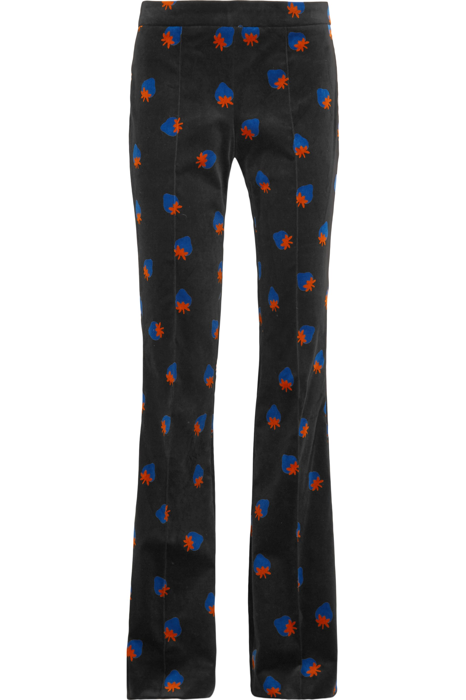 Victoria, Victoria Beckham Printed velvet flared pants
