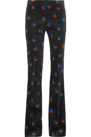 Printed velvet flared pants