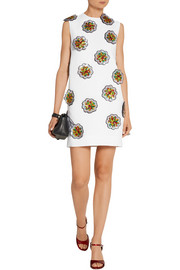 Victoria, Victoria Beckham Sequined floral-appliquéd crepe mini dress
