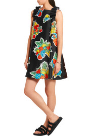 Victoria, Victoria Beckham Printed duchesse-satin mini dress