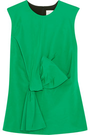 Victoria, Victoria Beckham Bow-embellished cotton-blend faille top