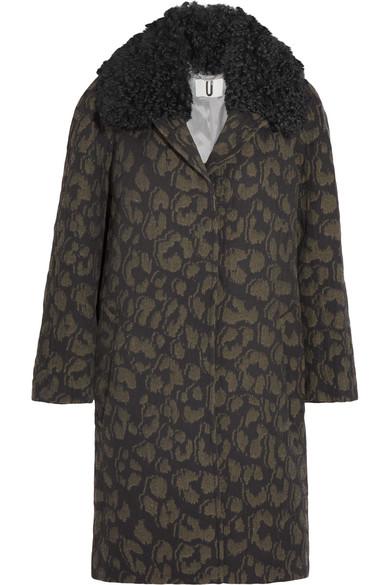 Topshop Unique - Sidgwick Shearling-trimmed Cloqué Coat - Leopard print