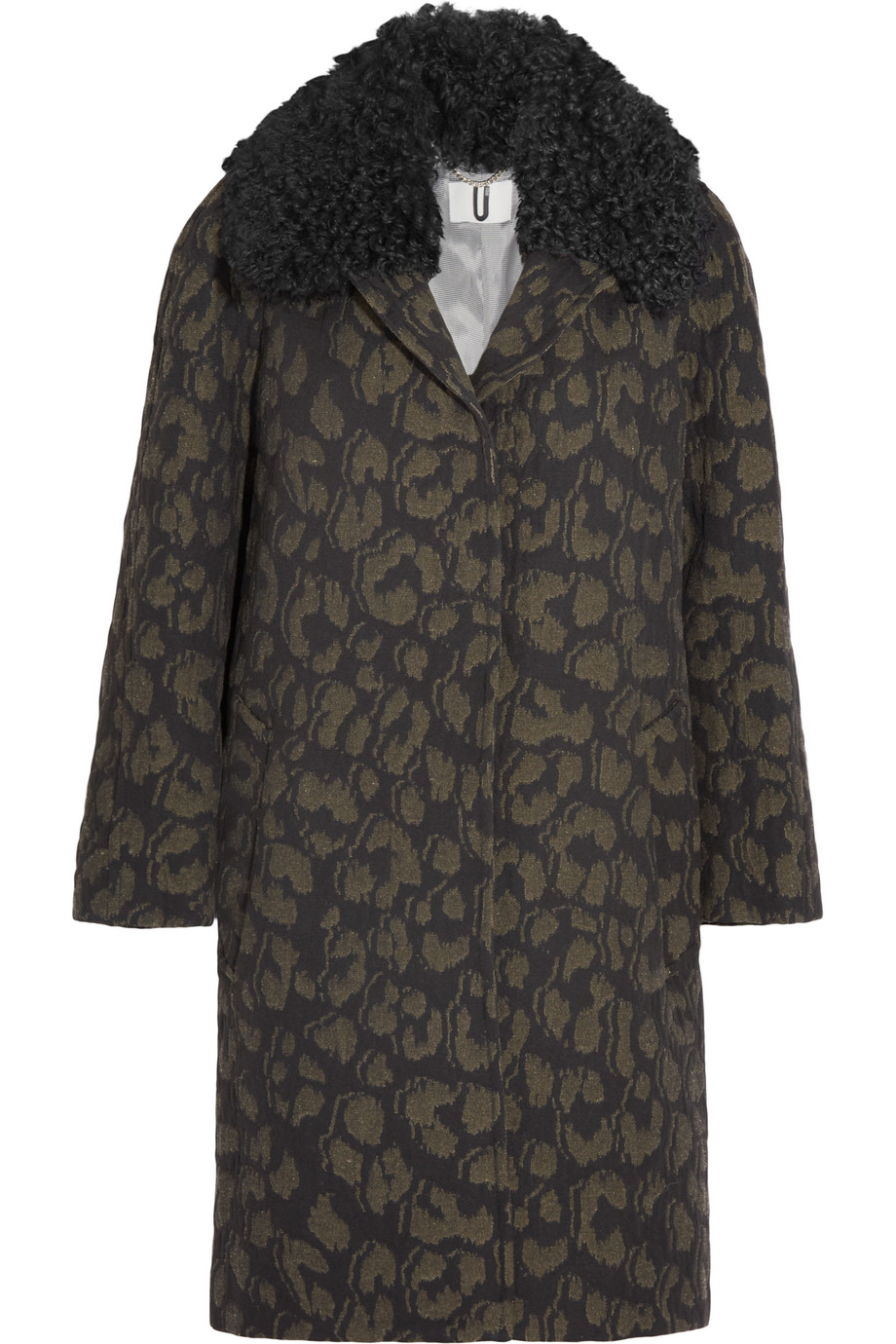 Topshop Unique Sidgwick Shearling-Trimmed Cloqué Coat, Leopard Print, Women's, Size: 12