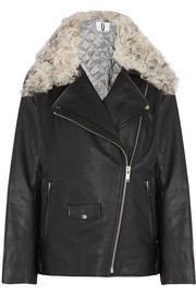 Topshop Unique Swinton shearling-trimmed textured-leather biker jacket