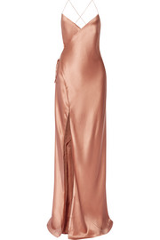 Michelle Mason Silk-satin wrap gown