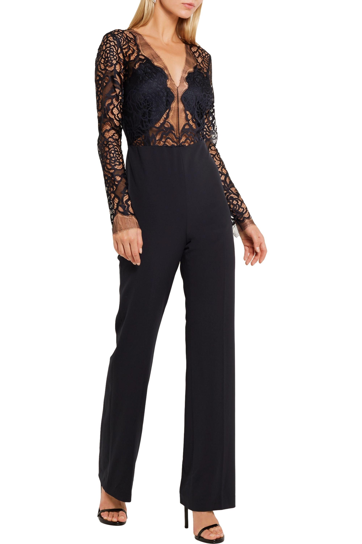 Michelle Mason Lace and stretch-crepe jumpsuit