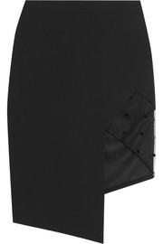 Michelle Mason Flocked tulle-paneled crepe skirt
