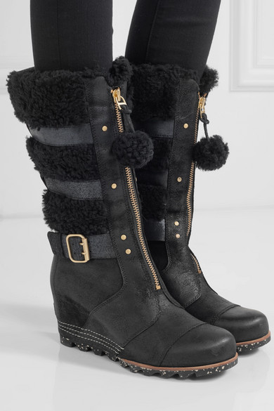Sorel Helen Waterproof Shearling And Nubuck Wedge Boots