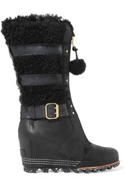 Helen waterproof shearling and nubuck wedge boots