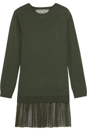 Cashmere and point d'esprit mini sweater dress