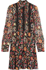 REDValentino Printed plissé silk-chiffon mini dress
