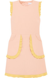 REDValentino Two-tone ruffle-trimmed cady mini dress