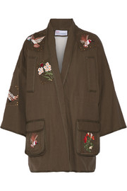 Faux shearling-lined embroidered cotton-canvas jacket
