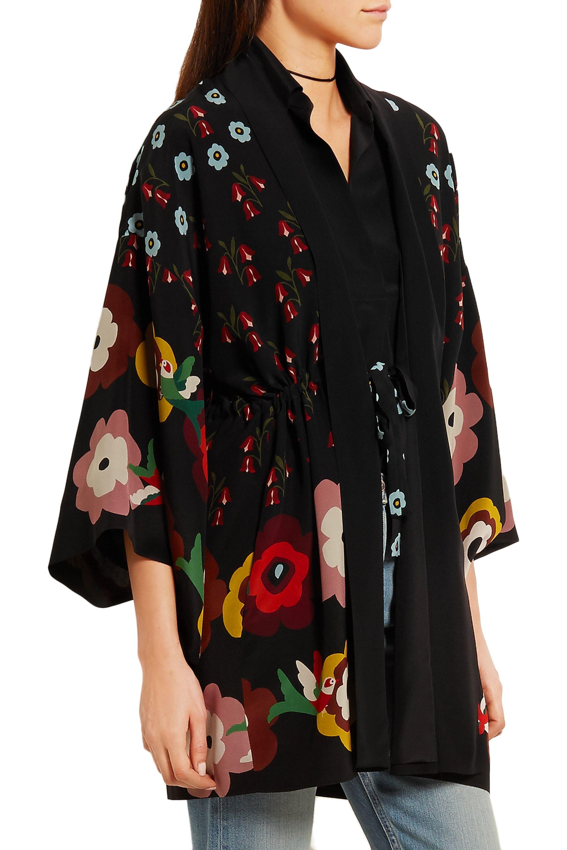 REDValentino Floral-print silk crepe de chine kimono jacket