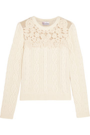 REDValentino Swiss dot tulle-paneled cable-knit sweater