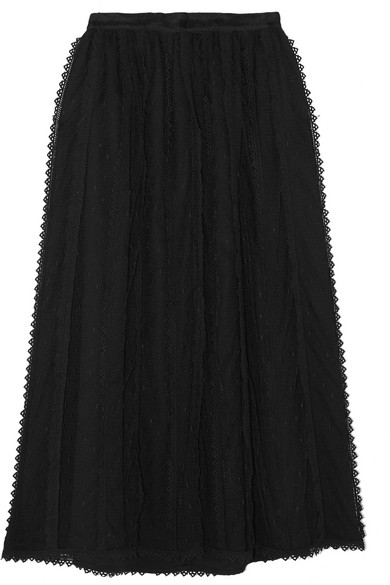 REDValentino. Lace-trimmed tulle midi skirt