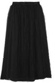 Lace-trimmed tulle midi skirt