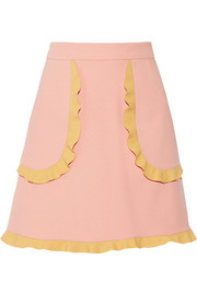 REDValentino Two-tone ruffle-trimmed cady mini skirt