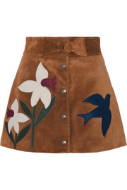 Leather-trimmed suede mini skirt