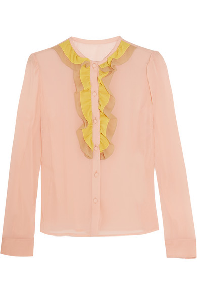 REDValentino - Ruffled Stretch-silk Mousseline Blouse - Baby pink