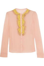 REDValentino Ruffled stretch-silk mousseline blouse