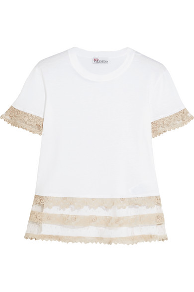 REDValentino - Macramé Lace-trimmed Cotton-jersey T-shirt - White