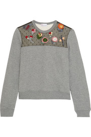 REDValentino Embroidered point d'esprit-paneled jersey sweatshirt
