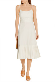 Theory Minikar pleated stretch-cotton poplin dress