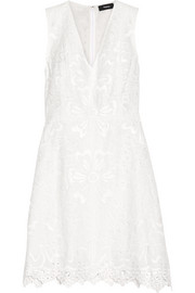 Theory Jemion broderie anglaise linen and cotton-blend dress