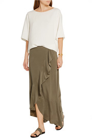 Theory Lorsinie asymmetric ruffled washed-silk wrap skirt