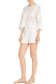 Theory Brizabela broderie anglaise linen and cotton-blend top
