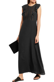 Theory Gegely lace-trimmed silk crepe de chine maxi dress