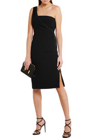 One-shoulder stretch-cady dress