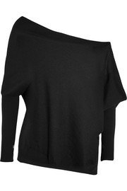 Off-the-shoulder cashmere and silk-blend sweater