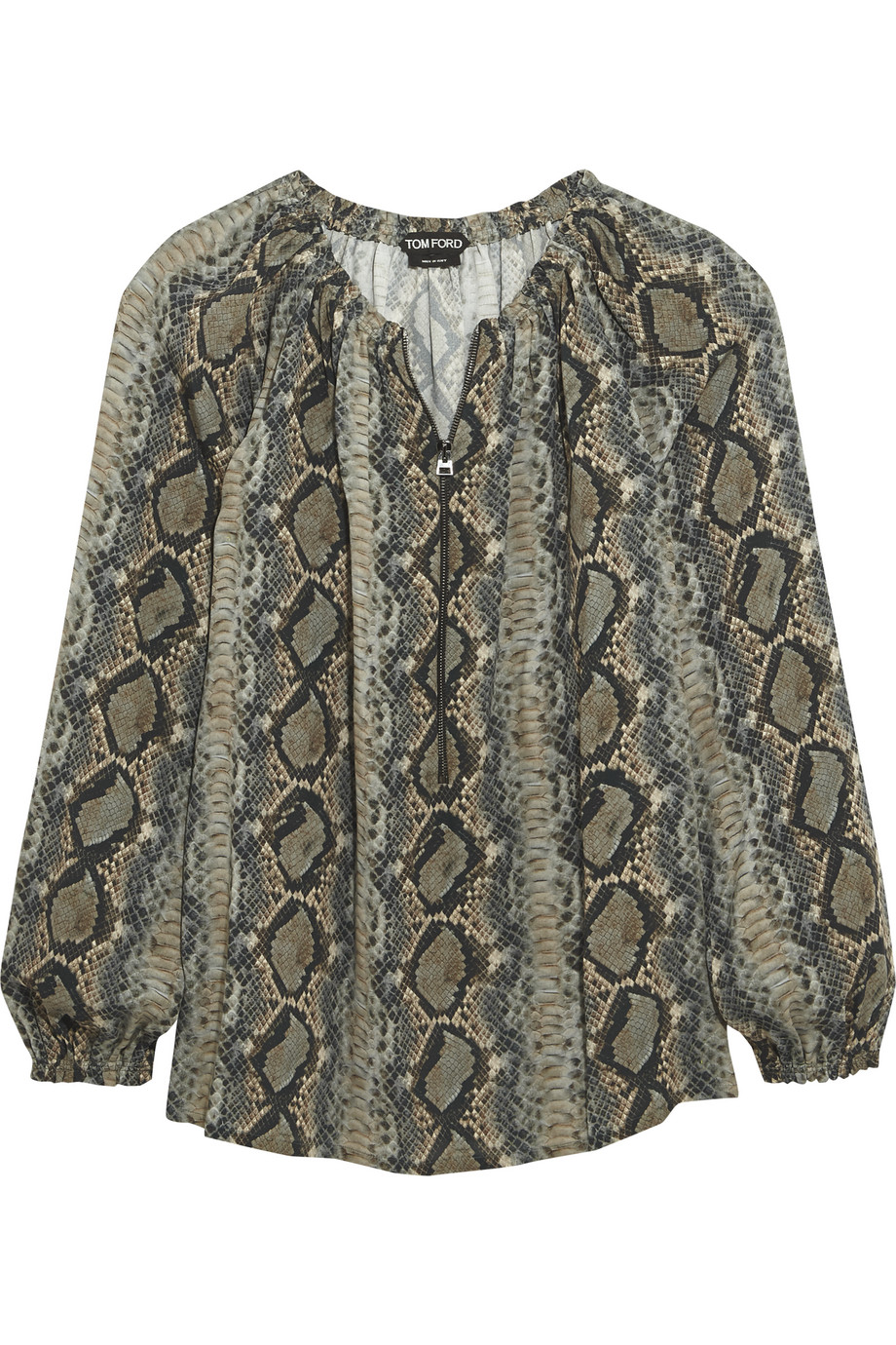 Snake-Print Silk-Georgette Blouse, Size: 38