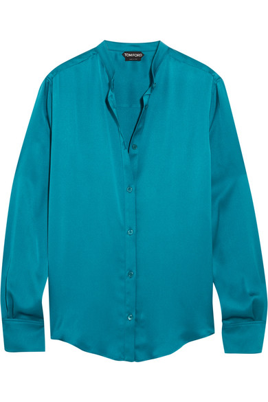 TOM FORD - Silk-satin Blouse - Petrol