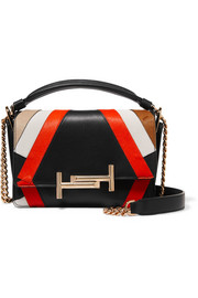 Double T small calf hair-paneled leather shoulder bag