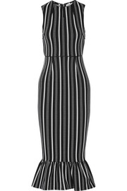 Lotus striped textured-jersey dress