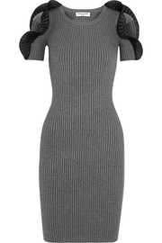 Ruffled ribbed stretch-knit dress