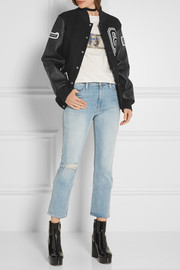 Appliquéd wool-blend twill and leather bomber jacket