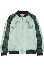 Cash reversible embroidered silk-satin bomber jacket