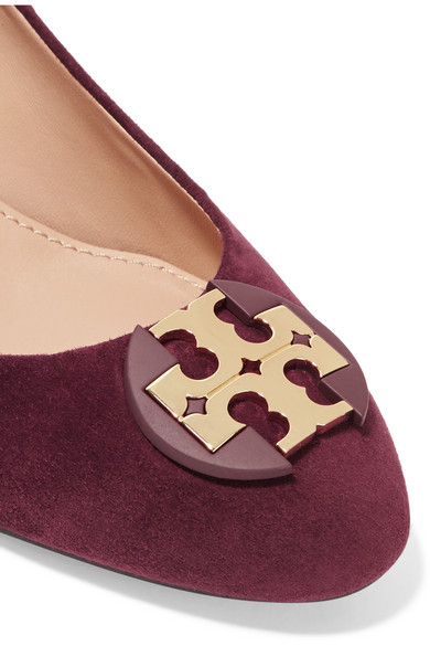 1a11b800bf6a4 Tory Burch. Luna embellished suede wedge pumps.  57. Zoom In