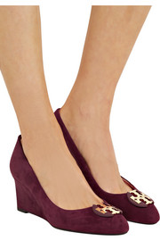 Tory Burch Luna embellished suede wedge pumps