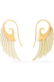 Wing 18-karat gold horn earrings