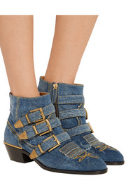Chloé Susanna embroidered denim ankle boots