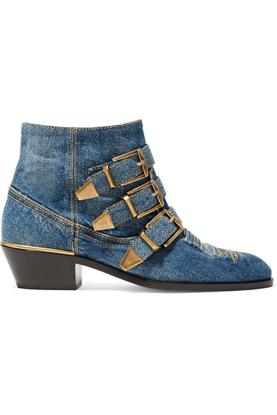 Chloé - Susanna Embroidered Denim Ankle Boots - Mid denim