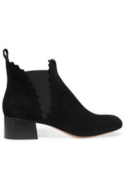 Suede scalloped ankle boots