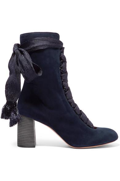 4e88766df5a6 Chloé. Lace-up suede ankle boots