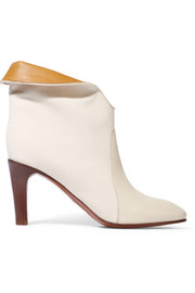 Chloé Leather-paneled canvas ankle boots